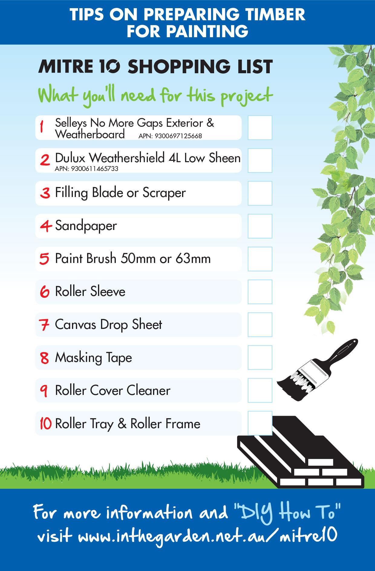 Mitre 10 DIY Checklist Painting