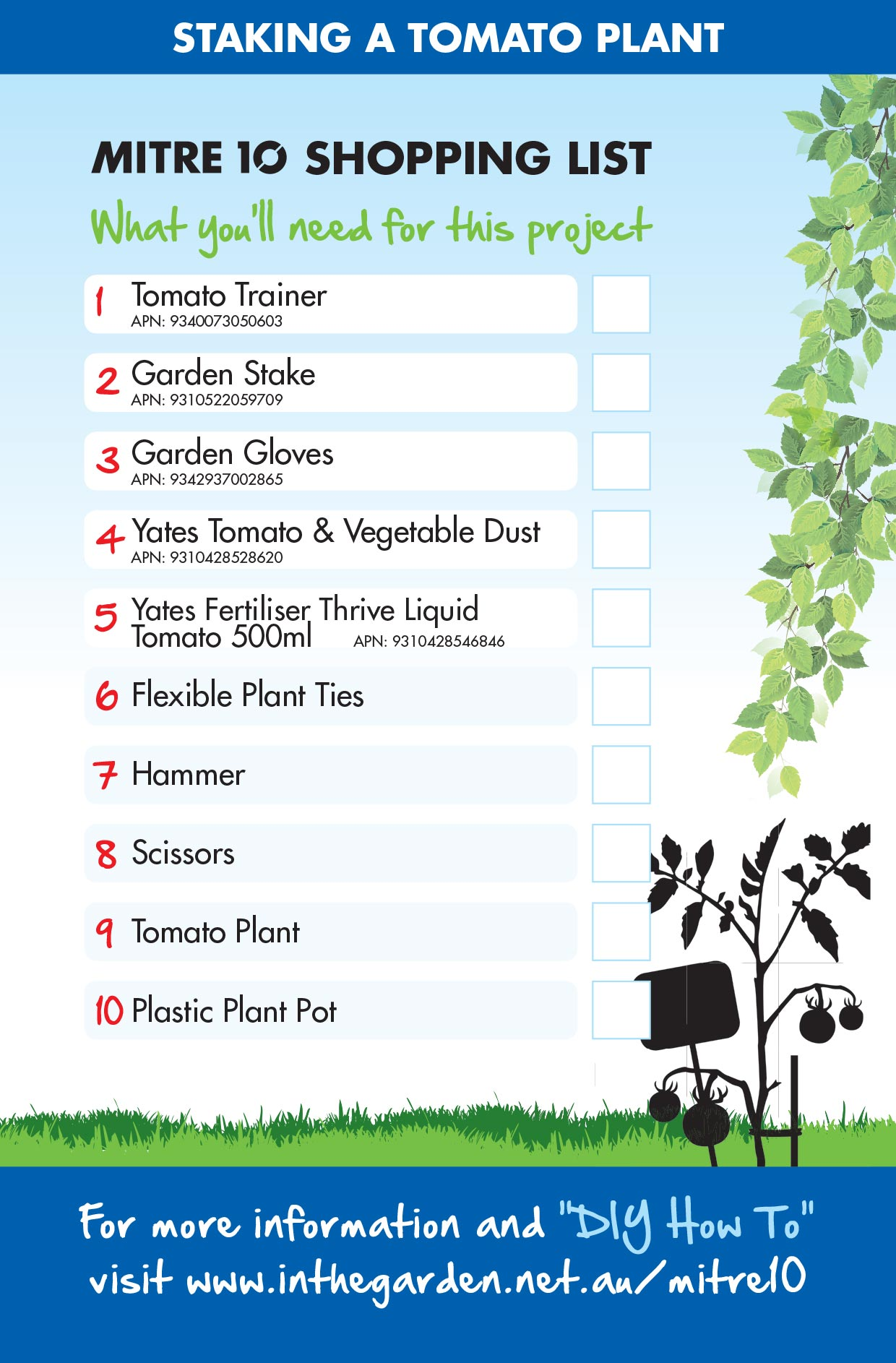 Staking Tomato Plant Checklist